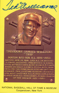 TED WILLIAMS - BASEBALL HALL OF FAME PLAQUE POSTCARD SIGNED