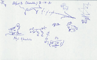 Autographs: ALFRED D. CHANDLER JR. - DOODLES SIGNED 02/19/1981