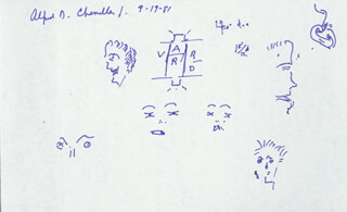 Autographs: ALFRED D. CHANDLER JR. - DOODLES SIGNED 09/19/1981