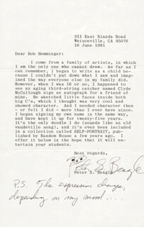 Autographs: PETER BEAGLE - TYPED LETTER SIGNED 06/16/1981