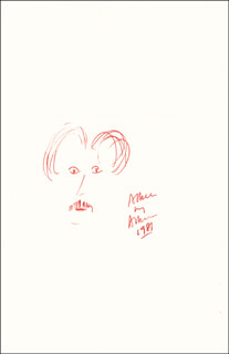 Autographs: EDWARD ALBEE - SELF-CARICATURE SIGNED 1987