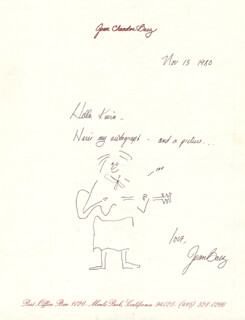JOAN BAEZ - INSCRIBED SELF-CARICATURE SIGNED 11/13/1980