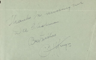OTTO KRUGER - AUTOGRAPH NOTE SIGNED