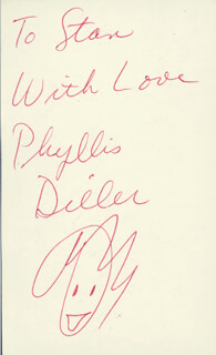 PHYLLIS DILLER - AUTOGRAPH NOTE SIGNED