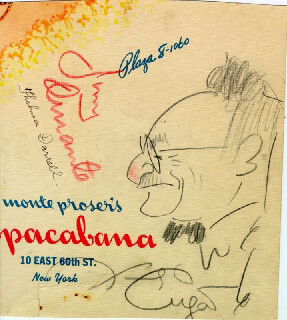 JIMMY SCHNOZZOLA DURANTE - MENU SIGNED CIRCA 1943 CO-SIGNED BY: THELMA DARRELL, XAVIER CUGAT