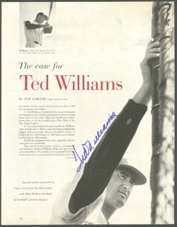 TED WILLIAMS - MAGAZINE ARTICLE SIGNED