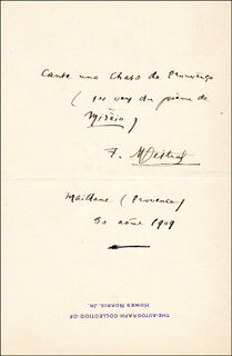 Autographs: FREDERIC MISTRAL - AUTOGRAPH QUOTATION SIGNED 08/30/1909