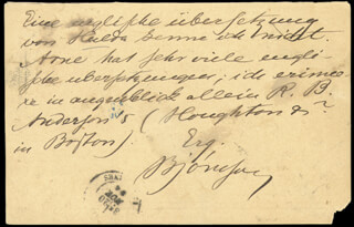 BJORNSTJERNE BJORNSON - AUTOGRAPH POST CARD SIGNED 11/20/1894