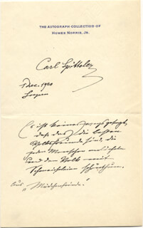 Autographs: CARL SPITTELER - AUTOGRAPH QUOTATION SIGNED 12/01/1920