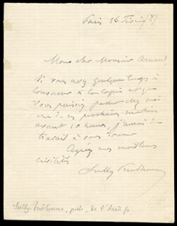 ARMAND SULLY-PRUDHOMME - AUTOGRAPH LETTER SIGNED 01/16/1883
