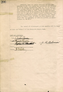 THOMAS A. EDISON - CORPORATE MINUTES SIGNED 03/08/1921 CO-SIGNED BY: GOVERNOR CHARLES EDISON, STEPHEN B. MAMBERT, HARRY F. MILLER, WILLIAM H. MAXWELL, J. W. ROBINSON