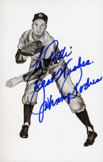 JOHNNY PODRES - INSCRIBED PICTURE POSTCARD SIGNED