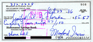 MONTE IRVIN - AUTOGRAPHED SIGNED CHECK 10/23/1986