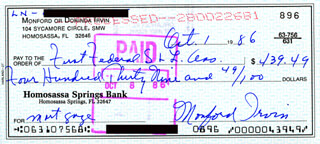 MONTE IRVIN - AUTOGRAPHED SIGNED CHECK 10/01/1986
