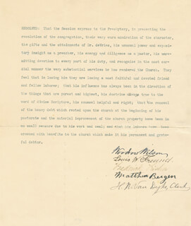 PRESIDENT WOODROW WILSON - DOCUMENT SIGNED CO-SIGNED BY: HENRY J. VAN DYKE, LOUIS W. FREUND, FREDERICK FISHER, MATTHEW BERGEN