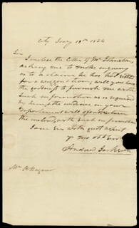 PRESIDENT ANDREW JACKSON - AUTOGRAPH LETTER SIGNED 01/19/1824
