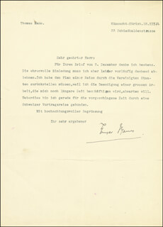 Autographs: THOMAS MANN - TYPED LETTER SIGNED 12/12/1933