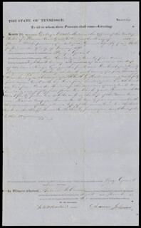 PRESIDENT ANDREW JOHNSON - LAND GRANT SIGNED 03/01/1856