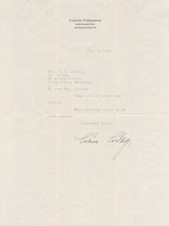 PRESIDENT CALVIN COOLIDGE - TYPED LETTER SIGNED 07/03/1930