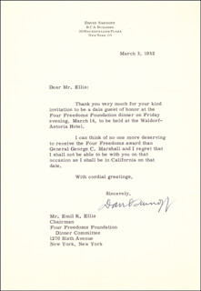 BRIGADIER GENERAL DAVID SARNOFF - TYPED LETTER SIGNED 03/03/1952