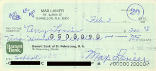 MAX LANIER - AUTOGRAPHED SIGNED CHECK 02/03/1976