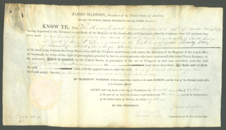 PRESIDENT JAMES MADISON - LAND GRANT SIGNED 10/07/1813 CO-SIGNED BY: EDWARD TIFFIN