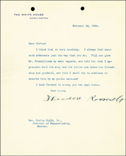 PRESIDENT THEODORE ROOSEVELT - TYPED LETTER SIGNED 02/10/1908