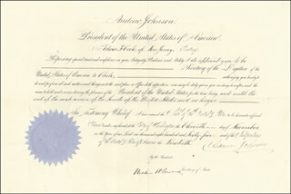 PRESIDENT ANDREW JOHNSON - DIPLOMATIC APPOINTMENT SIGNED 11/11/1865 CO-SIGNED BY: WILLIAM H. SEWARD