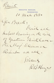 PRESIDENT RUTHERFORD B. HAYES - AUTOGRAPH LETTER SIGNED 03/10/1880