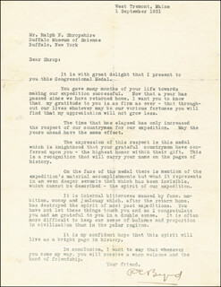 Autographs: REAR ADMIRAL RICHARD E. BYRD - TYPED LETTER SIGNED 09/01/1931
