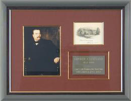 PRESIDENT GROVER CLEVELAND - WHITE HOUSE ENGRAVING SIGNED 3/1896
