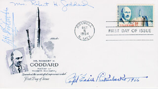 MAJOR EDWARD V. EDDIE RICKENBACKER - FIRST DAY COVER SIGNED 1966 CO-SIGNED BY: ESTHER CHRISTINE (MRS. ROBERT GODDARD) GODDARD, BRIGADIER GENERAL JAMES H. JIMMY DOOLITTLE