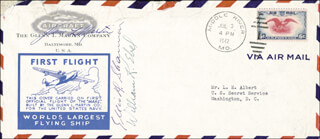 GLENN L. MARTIN - COMMEMORATIVE ENVELOPE SIGNED CO-SIGNED BY: WILLIAM K. EBEL, ELLIS SHANNON