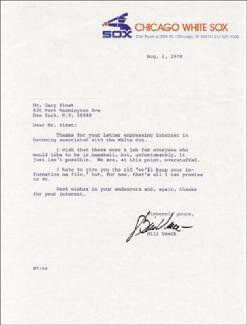 BILL VEECK - TYPED LETTER SIGNED 08/01/1978
