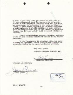 JAMES CAGNEY - CONTRACT SIGNED 03/24/1958