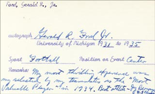 Autographs: PRESIDENT GERALD R. FORD - AUTOGRAPH NOTE SIGNED CIRCA 1962