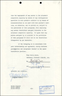 TYRONE POWER - CONTRACT SIGNED 07/10/1952