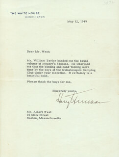 PRESIDENT HARRY S TRUMAN - TYPED LETTER SIGNED 05/12/1949