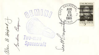 SCOTT CARPENTER - COMMEMORATIVE ENVELOPE SIGNED CO-SIGNED BY: COLONEL GORDON COOPER JR.