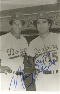 MAURY WILLS - AUTOGRAPHED SIGNED PHOTOGRAPH CO-SIGNED BY: DAVEY LOPES