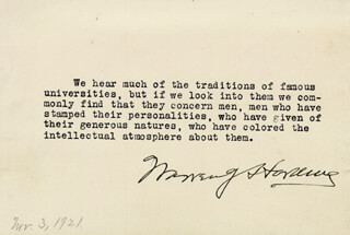 Autographs: PRESIDENT WARREN G. HARDING - TYPED QUOTATION SIGNED 10/20/1902