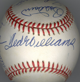 Autographs: HALL OF FAME BASEBALL - BASEBALL SIGNED CO-SIGNED BY: WHITEY FORD, JOHNNY MIZE, STAN THE MAN MUSIAL, TED WILLIAMS, ENOS SLAUGHTER, BOBBY DOERR, BROOKS ROBINSON, MONTE IRVIN