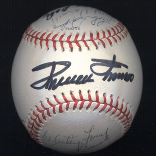 WILLIE SAY HEY KID MAYS - AUTOGRAPHED SIGNED BASEBALL CO-SIGNED BY: LUKE APPLING, MEL PARNELL, BOB FELLER, WHITEY FORD, JOSE CARDENAL, DON LARSEN, EARLY WYNN