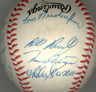 THE LOS ANGELES DODGERS - AUTOGRAPHED SIGNED BASEBALL CO-SIGNED BY: BILL RUSSELL, DUSTY BAKER, MIKE SCIOSCIA, BOB WELCH, BURT HAPPY HOOTON, TOM NIEDENFUER, JERRY ROLLS REUSS, KEN LANDREAUX, STEVE SAX, JAY JOHNSTONE, JOSE MORALES, STEVE YEAGER