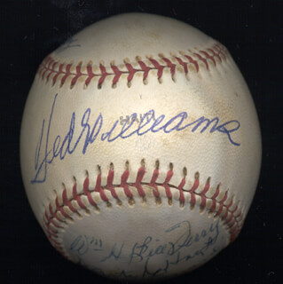 HALL OF FAME BASEBALL - AUTOGRAPHED SIGNED BASEBALL CO-SIGNED BY: TED WILLIAMS, WAITE HOYT, LLOYD LITTLE POISON WANER, EARL AVERILL SR., STAN COVELESKI, BUCK LEONARD, MONTE IRVIN, WILLIAM H. MEMPHIS BILL TERRY