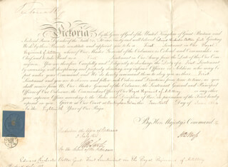 Autographs: QUEEN VICTORIA (GREAT BRITAIN) - MILITARY APPOINTMENT SIGNED 06/20/1854 CO-SIGNED BY: PRIME MINISTER HENRY JOHN TEMPLE (GREAT BRITAIN)