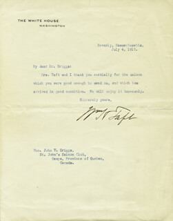 PRESIDENT WILLIAM H. TAFT - TYPED LETTER SIGNED 07/04/1912
