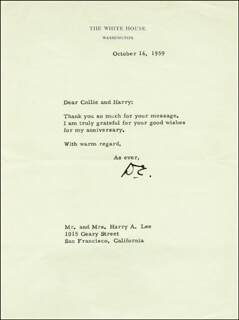 Autographs: PRESIDENT DWIGHT D. EISENHOWER - TYPED NOTE SIGNED 10/16/1959