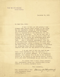 PRESIDENT WARREN G. HARDING - TYPED LETTER SIGNED 12/23/1921