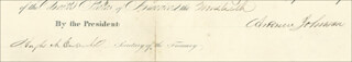 Autographs: PRESIDENT ANDREW JOHNSON - CIVIL APPOINTMENT SIGNED 02/20/1866 CO-SIGNED BY: HUGH McCULLOCH